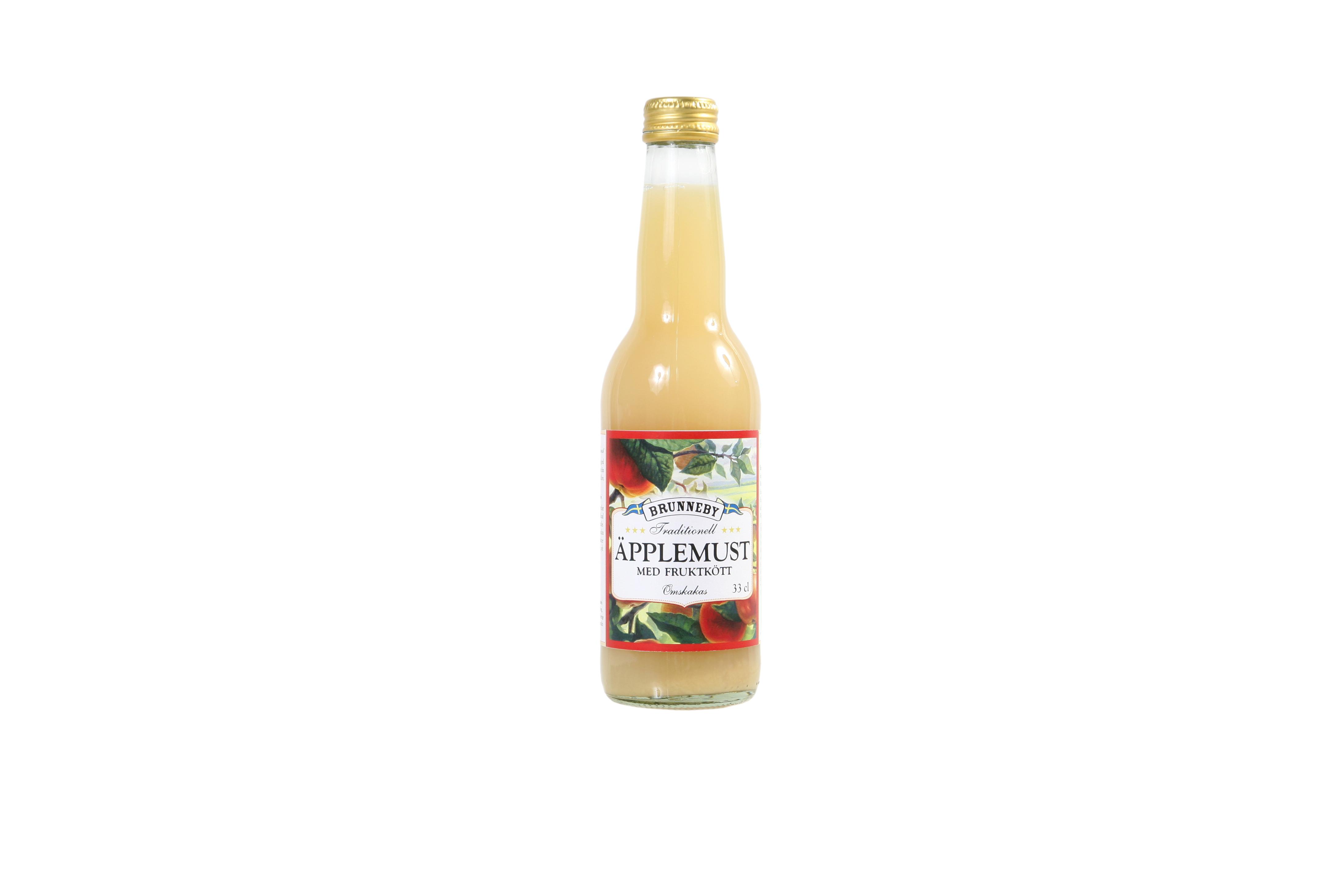 Högupplöst bild på Äpplemust med fruktkött i 33cl flaska.