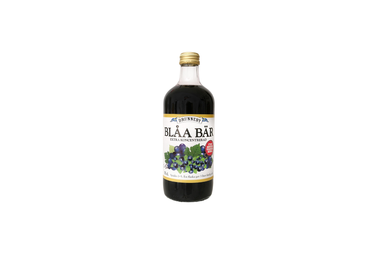 Högupplöst bild på Blåa Bär saft i 50cl flaska.
