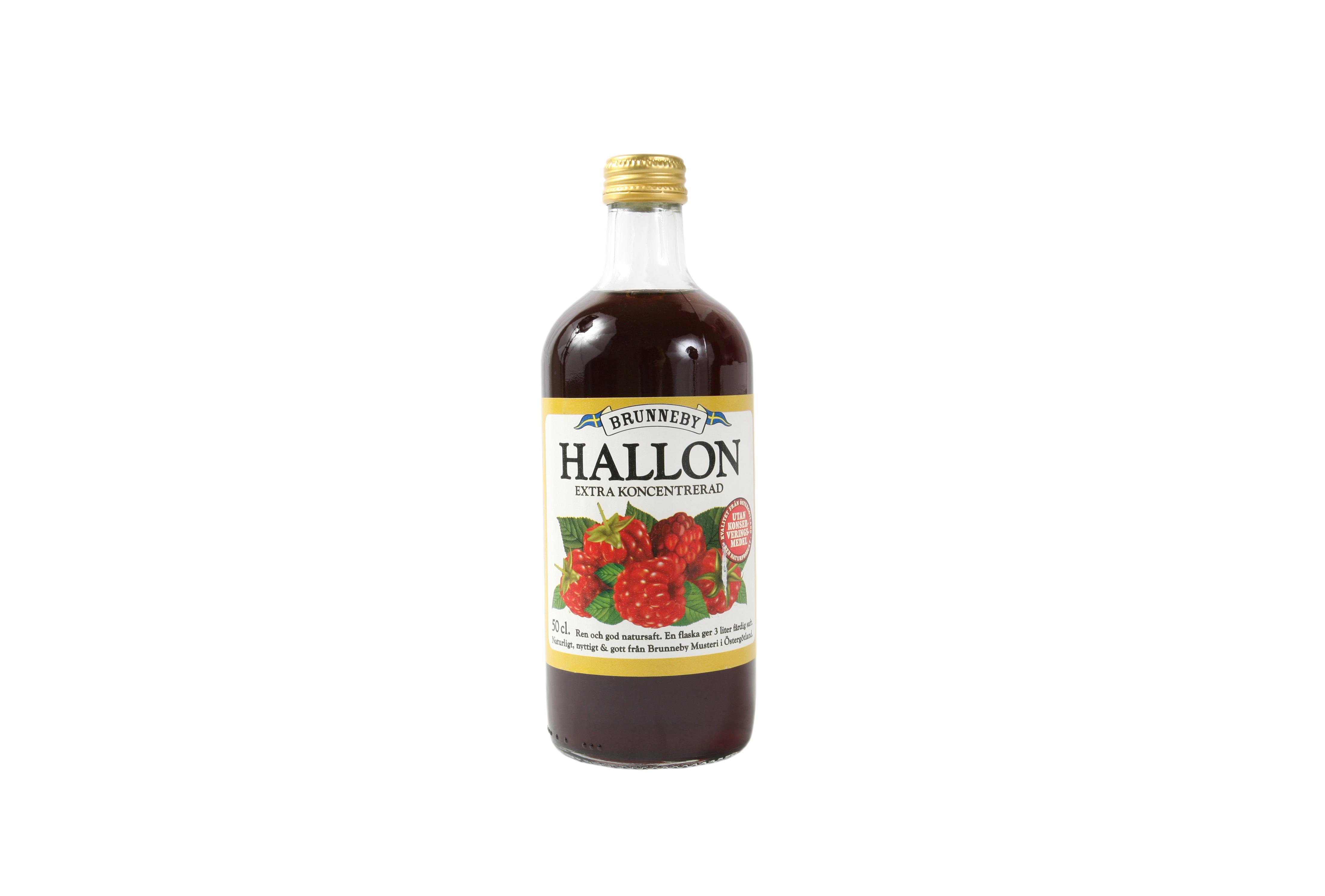 Högupplöst bild på Hallonsaft i 50cl flaska.