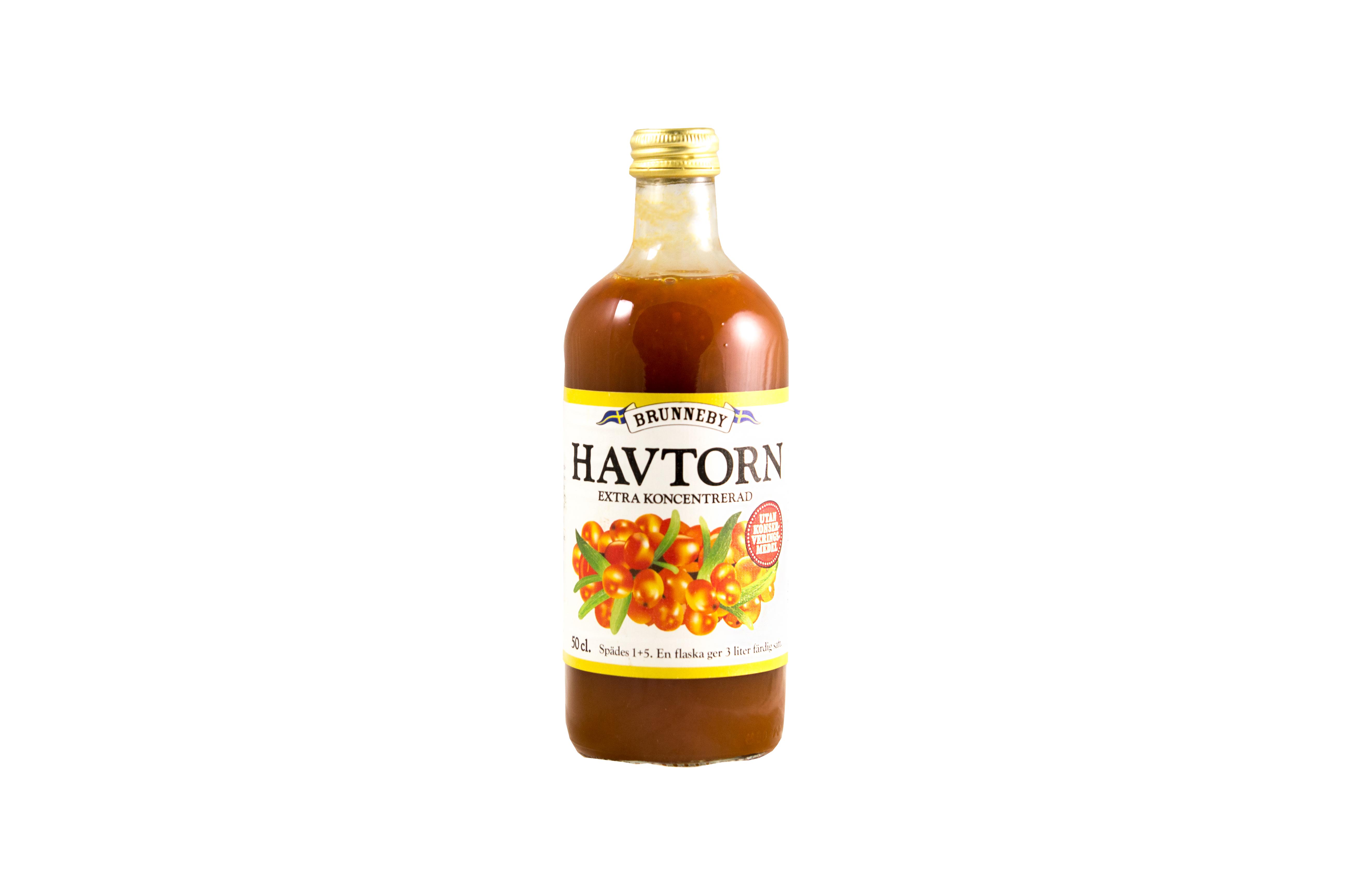 Högupplöst bild på Havtornssaft i 50 cl flaska.