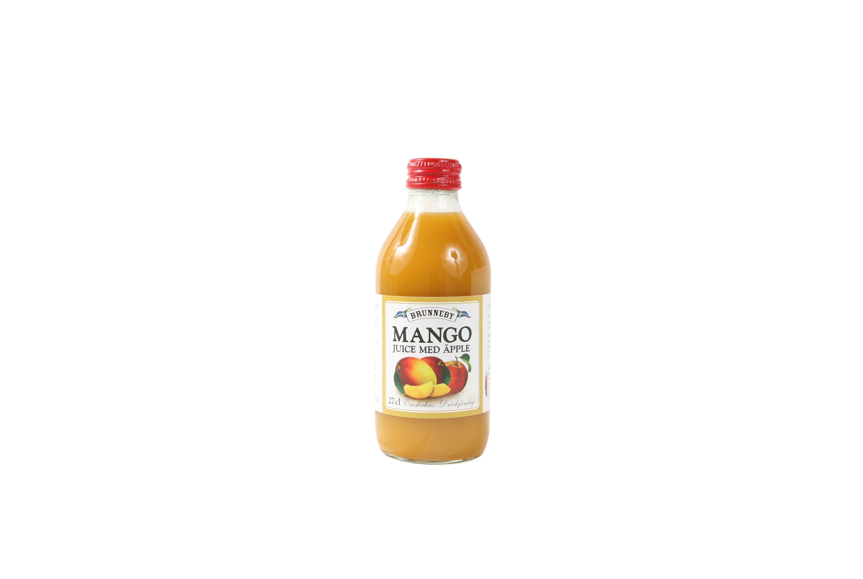 Högupplöst bild på Mangojuice med äpple i 27cl flaska.