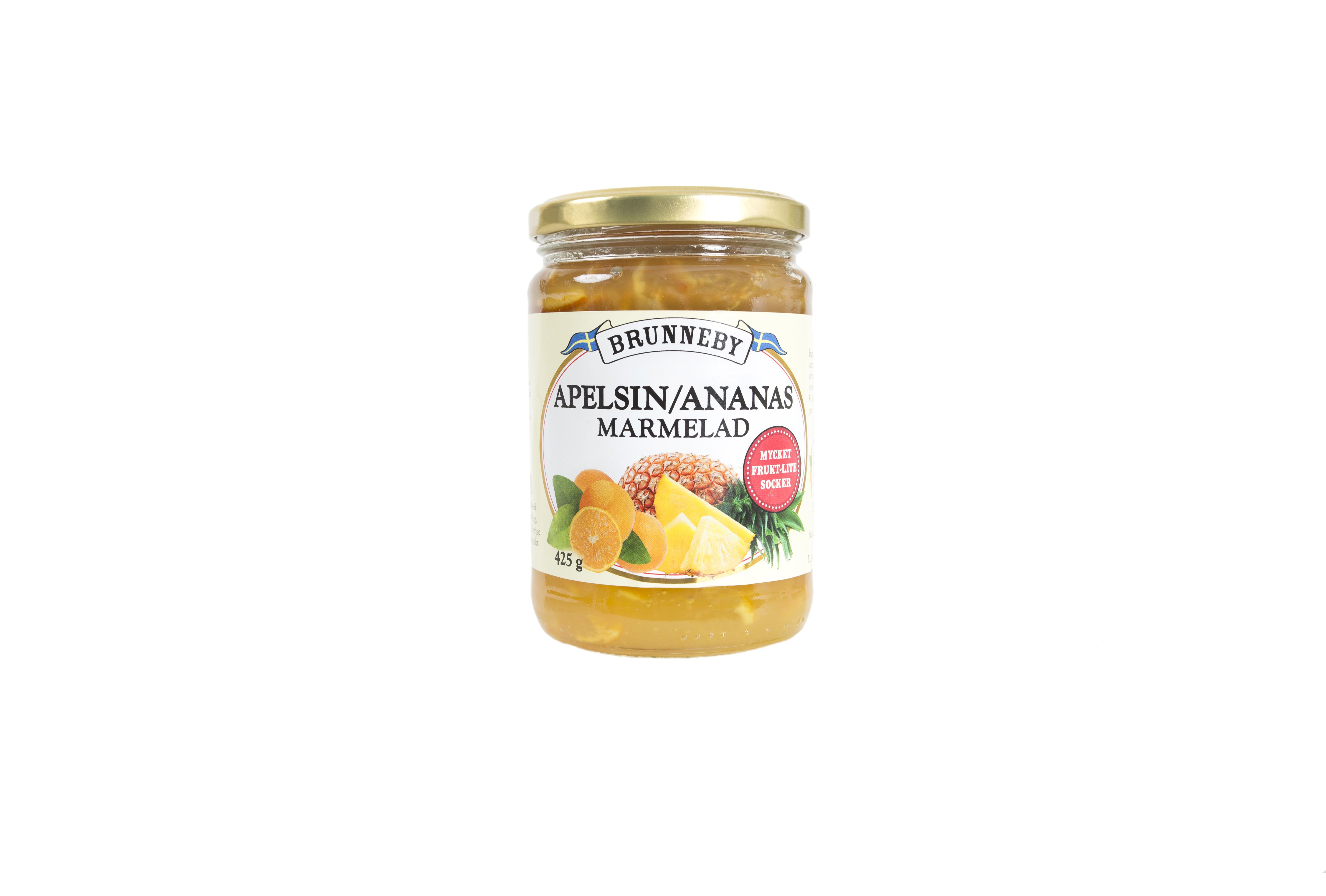 Högupplöst bild på Apelsin och ananasmarmelad i 425g burk.