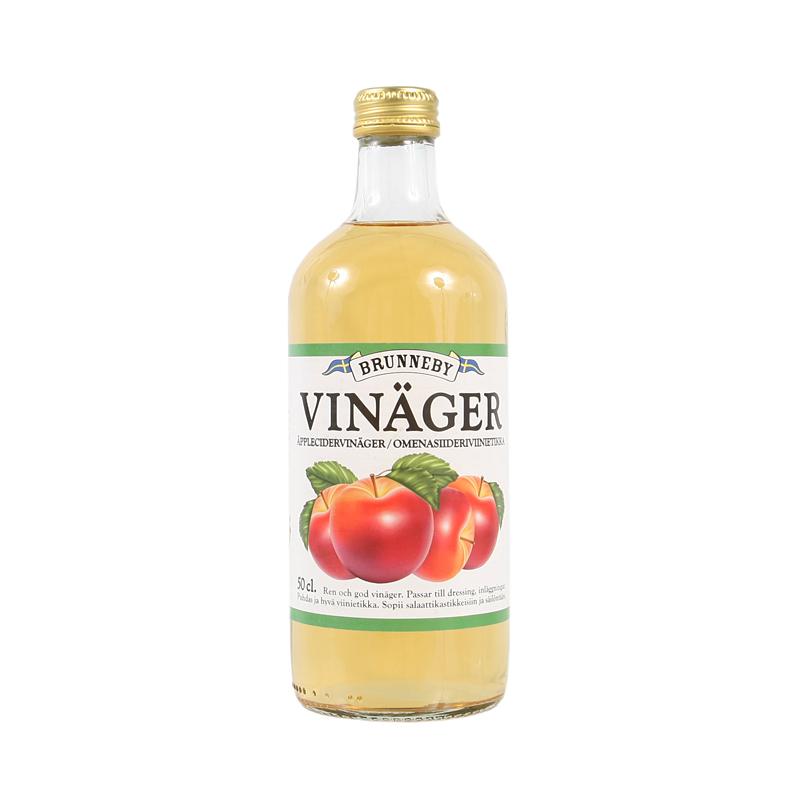 Högupplöst bild på Äpplecidervinäger i 50 cl flaska.