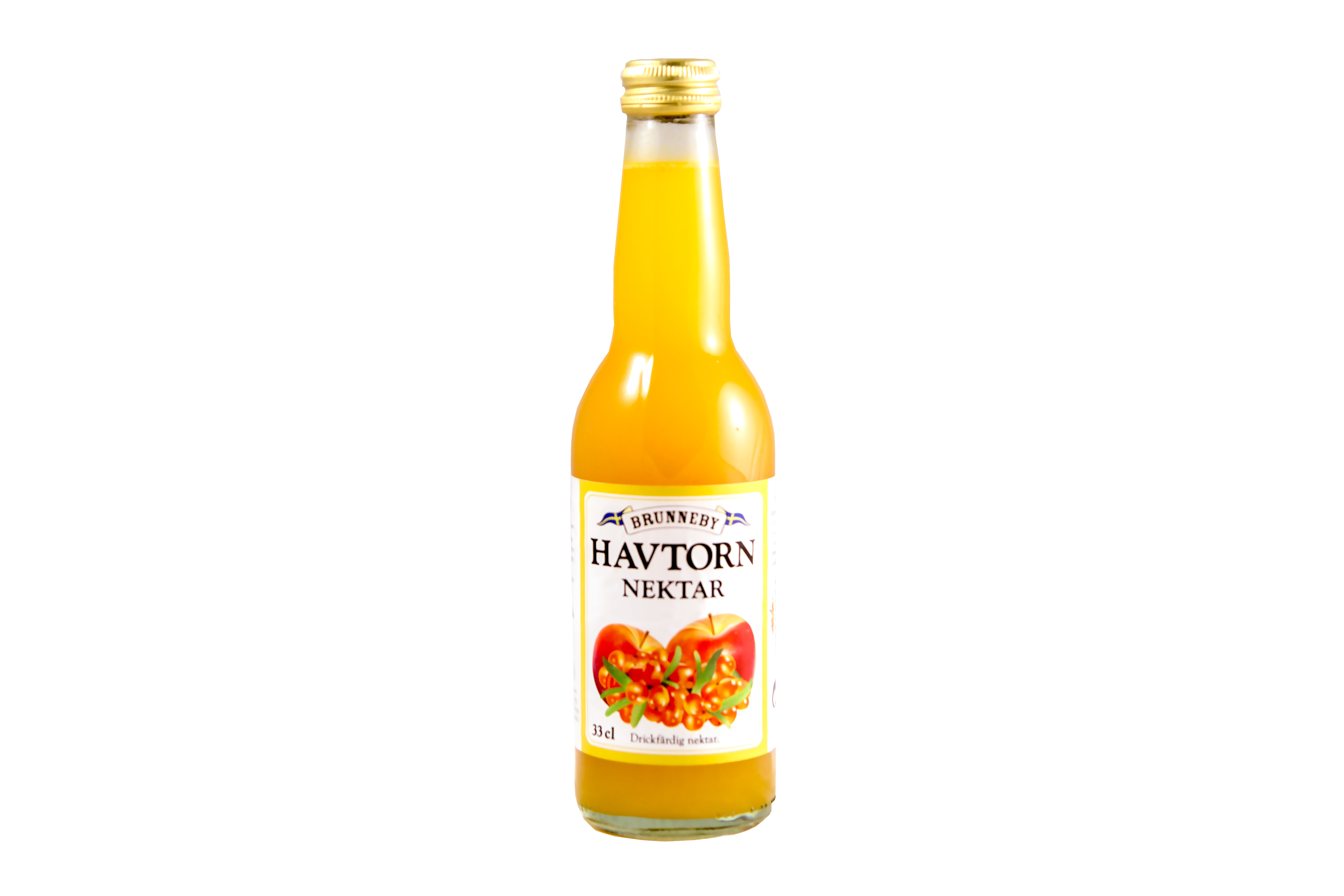 Högupplöst bild på Havtornsnektar i 33 cl flaska.
