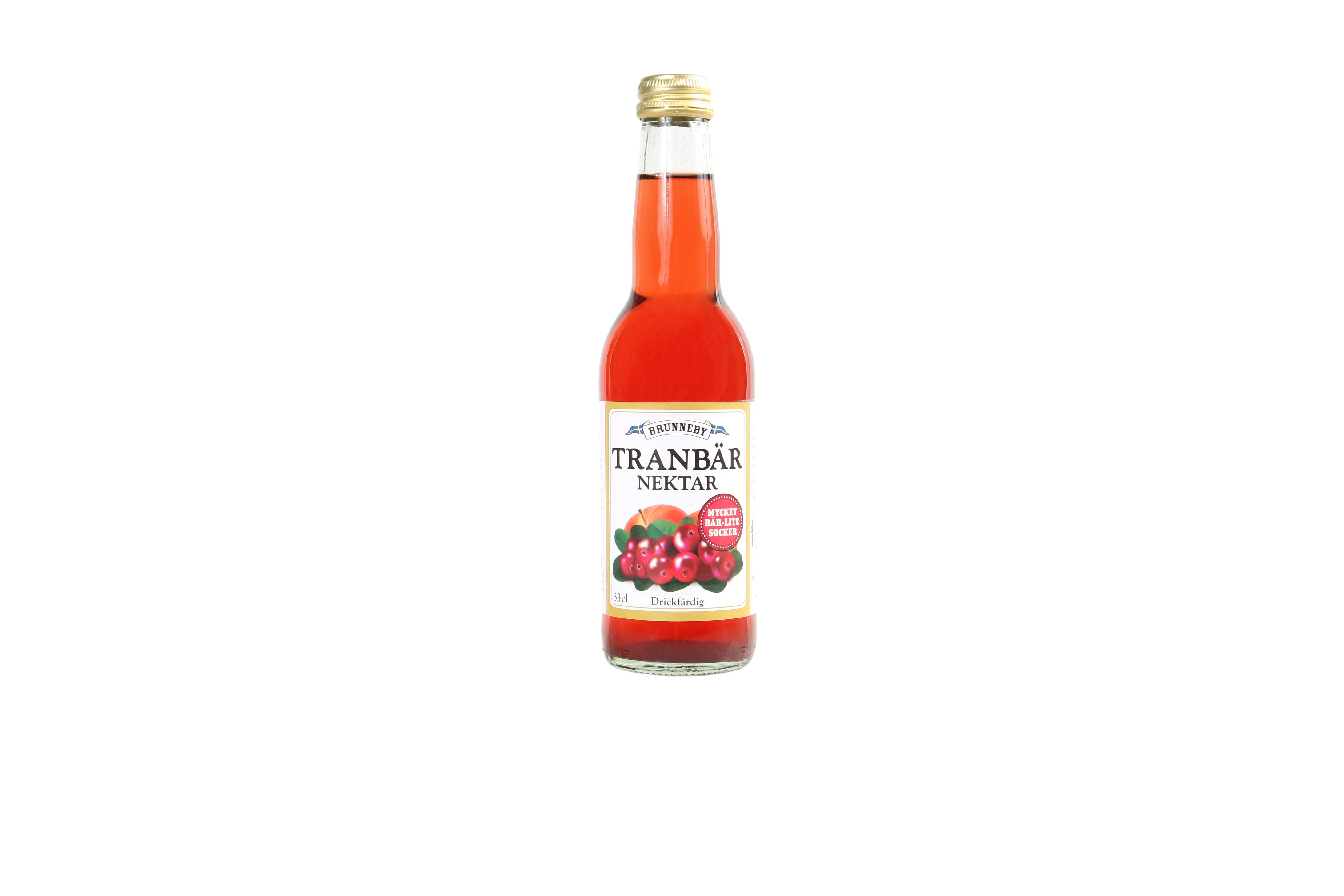 Högupplöst bild på Tranbärsnektar i 33 cl flaska.